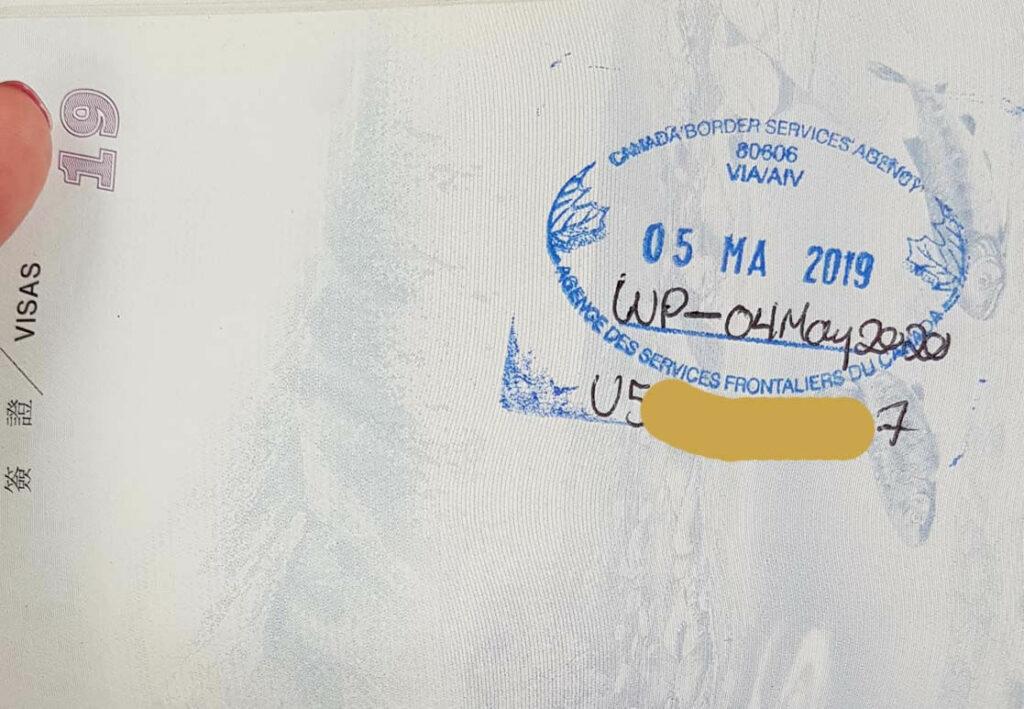 護照有加拿大邊境服務局蓋章載明離境期限