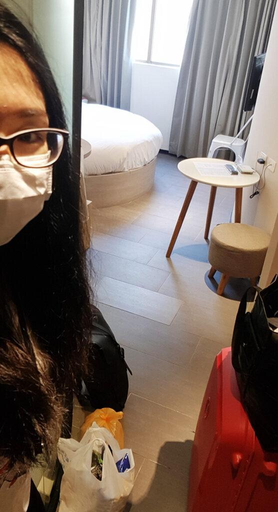 第一天抵達防疫旅館進門後